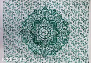 Indian Handmade Green Mandala Poster Wall Hanging Tapestry Cotton Home Decor