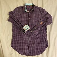 Robert Graham Button Up Shirt Adult Large L Purple Plaid Flip Cuff Casual Mens