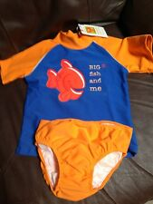 Girls Bathing Suit 2 pc Swimwear 3 NWT Big Fish & me UV UPF 50 Orange Blue