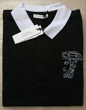 Versace COLLECTION Cabeza De Medusa logotipo Bordado Camisa Polo Negra para Hombre Talla XL
