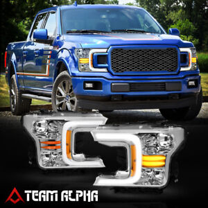 Fits 2018-2021 Ford F-150 [LED SEQUENTIAL SIGNAL] Chrome/Amber Halogen Headlight