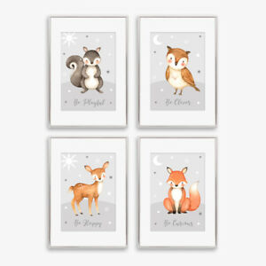 Animal Baby Nursery Prints Childrens Bedroom Wall Art Decor Pictures Girl / Boy