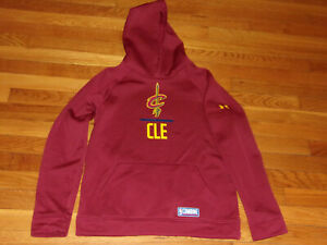 UNDER ARMOUR NBA COMBINE CLEVELAND CAVALIERS LONG SLEEVE HOODIE BOYS LARGE EXC.
