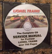 LIONEL COMPLETE SERVICE MANUAL POSTWAR TRAINS CD PDF Disk, 763e 3360 45 2332 52+