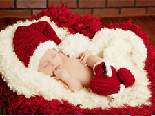 Christmas Newborn Infant Baby Girl Boy Hat+Shoes Photo Prop 2Pcs Outfits Sets