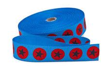 Gurtband in hellblau mit roten Punkten und grauen Sternen   30 mm