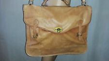 Large Vintage Tan Leather Briefcase Made in Columbia shouder strap & Handle
