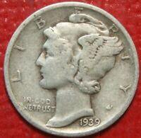 1939-D Mercury Dime , Circulated  , 90% Silver US Coin