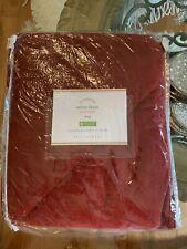 NEW Pottery Barn Washed Velvet Silk Blend Diamond KING Sham Ruby Red