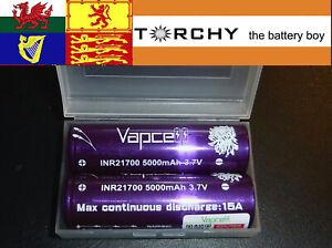 2 x 15A Vapcell 5000mAh 21700  3.7v Li-ion batteries + protective case