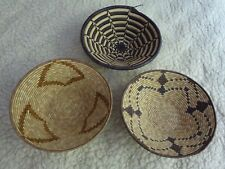 "Three Handmade Woven  Basket from Uganda each 11"" in diameter"