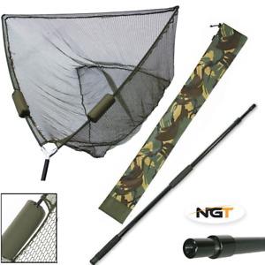 "CARP FISHING 50"" INCH GREEN NGT DUAL FLOAT LANDING NET, HANDLE, CAMO STINK BAG"