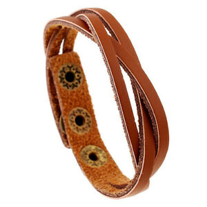 Fashion Mens Women Leather Bracelet Braided Bangle Wristband Surfer Cuff Jewelry