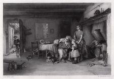 "Detailed 1800s JOHN P. BURR Engraving ""Amusing Domestic Troubles"" SIGNED COA"