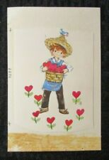 "VALENTINES DAY Boy w/ Basket of Hearts & Bird 4.25x6.5"" Greeting Card Art #3239"