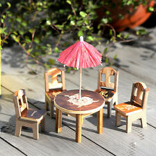 Miniature Fairy Wooden Desk Chair Umbrella Dollhouse Garden Home Ornament DECORD