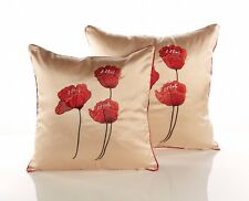 """Poppies Cushion Covers In  Red, Black & Cream 18"""" & 22"""", lovely piped edge"""
