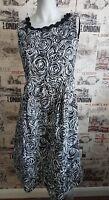 Marks&Spencer Black&White 100%Linen Roses Print Dress Size 12 UK