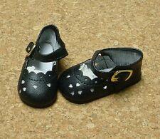 Doll Shoes, 80mm BLACK Heart Cut fit Tonner Katie