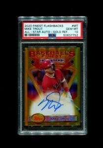2020 MIKE TROUT TOPPS FINEST FLASHBACKS ALL STAR #/15 GOLD REFRACTOR AUTO PSA 10