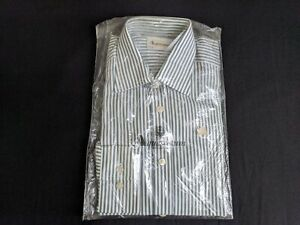 "Brand New Mens Green & White Striped Shirt by Aquascutum (Size: 37cm | 14 1/2"")"