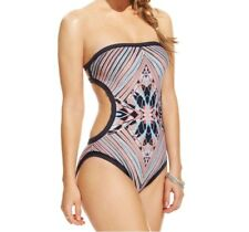 Coco Rave Printed Bandeau Monokini One-Piece Swimsuit, Black Multi, Small 32B/C