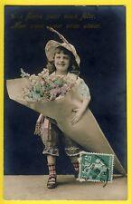 cpa Fantaisie JEUNE FILLE Chapeau Plume Cornet de FLEURS Young Girl Flowers