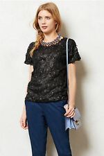 Anthropologie Top Blouse Tee Foral Textured Lattice Blossom By Weston Wear Sz MP