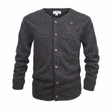 Trachtenstrickjacke Strickjacke Herren Hoodie Sweater Rundhals anthrazit Grau