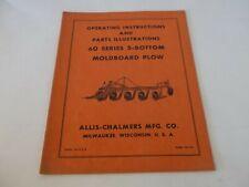Allis Chalmers 60 Series 5 Bottom Moldboard Plow Operation Amp Parts Manual