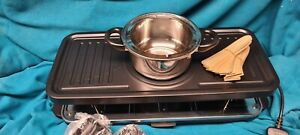 Cooks 12 Person Raclette Grill with 6 Fork Fondue Set & 12 Raclette Pans new