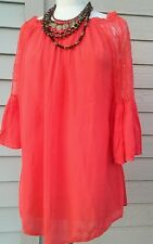 Fashion fuse casual coral vintage boho bell sleeve with lace, tunic top medium