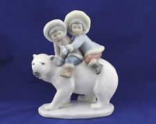 "Lladro #5353 ""Eskimo Riders"" Inuit Children on a Polar Bear no box RV$395 MINT"