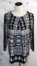 Liz Claiborne Womens Plus Size 1X Black White Paisley Print 3/4 Sleeve Top NWT