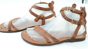 Handmade Sandals Rhodes Womens Sz 39 Ankle Strap Tan Leather Thong Boho Sandals