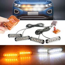 Car 6LED Amber/White Police Strobe Flash Light Dash Emergency Warning Lamp Kit