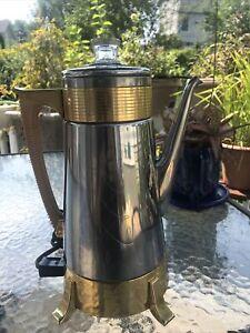 Vintage Dormeyer Auto Electric Coffee Maker Percolator Model 22 Chrome Gold MCM
