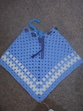 Baby/toddler hand crochet granny square poncho blue acrylic easy care retro
