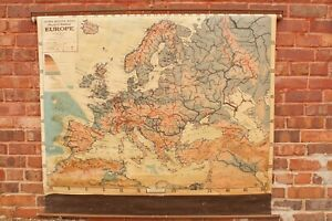 """1941 Cram's Europe Map School Pull Down 54 1/2"""" by 50"""" WWII Mounts Functions"""