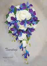 "Blue Purple orchids & Rose ""Real Touch""  Teardrop Bridal Bouquet set - CRYSTALS"