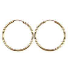 Gold earrings mid heavy plain 28mm-x-1mm