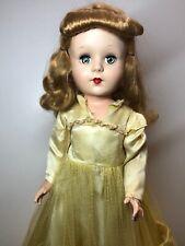15.5� Vintage Unbranded Hard Plastic Doll Adorable Golden Blonde Yellow Dress #S