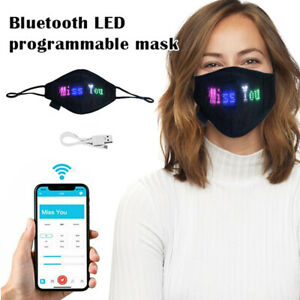 Bluetooth LED Programmable Face Cover Custom Sign US Rechargeable for Halloween
