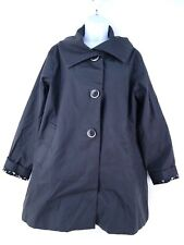 Jane Post for Saks Fifth Avenue Raincoat Black Retro Mod Oversized Buttons L