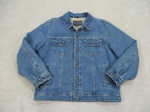 Eddie Bauer Jacket Adult Large Blue Denim Outdoors Button Quilted Coat Mens
