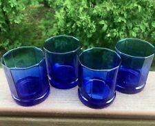 Cobalt Blue Octagon Whisky Drinkware 10 Sided  Anchor Vintage Glasses