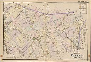 1910 PASSAIC & MORRIS COUNTY TWP NEW JERSEY MT KEMBLE TO PLEASANTVILLE ATLAS MAP