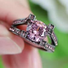 Size 8 Pink Engagement & Wedding Ring Women's Black Rhodium Plated jewelry