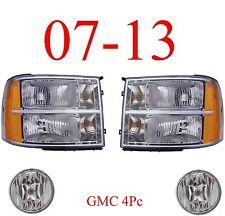 07 13 GMC 4Pc Head Light & Fog Light Kit Assemblies, Truck, Denali, 1500, 2500