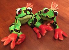 "Circus Circus SOFT COLORFUL TREE FROGS 12"" Plush STUFFED ANIMAL Toy Lot of 2"